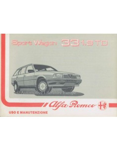 1988 ALFA ROMEO 33 1.8 TD SPORT WAGON BETRIEBSANLEITUNG ITALIENISCH