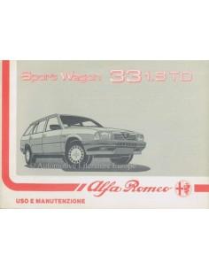 1988 ALFA ROMEO 33 1.8 TD SPORT WAGON OWNERS MANUAL ITALIAN
