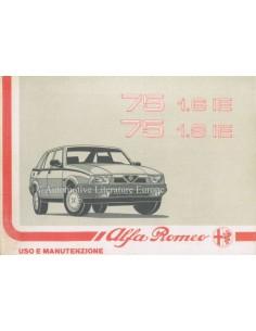 1989 ALFA ROMEO 75 1.6 IE & 1.8 IE OWNERS MANUAL ITALIAN