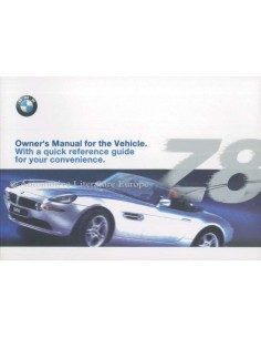 2000 BMW Z8 OWNERS MANUAL HANDBOOK ENGLISH (USA)