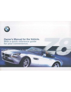 2001 BMW Z8 OWNERS MANUAL HANDBOOK ENGLISH (USA)