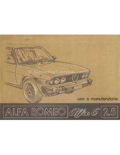 1979 ALFA ROMEO 6 2.5 BETRIEBSANLEITUNG ITALIANIESCH