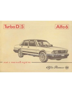 1983 ALFA ROMEO 6 2.5 TURBO DIESEL OWNERS MANUAL ITALIAN