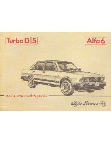 1983 ALFA ROMEO 6 2.5 TURBO DIESEL INSTRUCTIEBOEKJE ITALIAANS