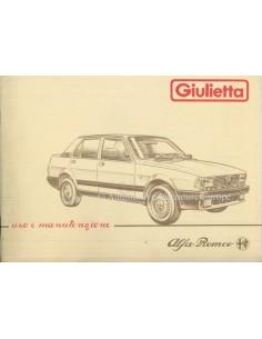 1984 ALFA ROMEO GIULIETTA OWNER'S MANUAL ITALIAN