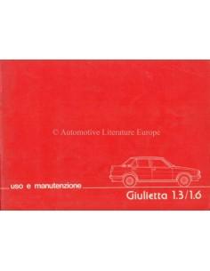 1977 ALFA ROMEO GIULIETTA OWNERS MANUAL ITALIAN