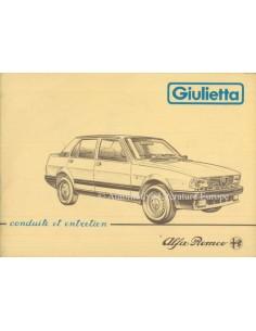 1984 ALFA ROMEO GIULIETTA INSTRUCTIEBOEKJE FRANS
