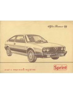 1984 ALFA ROMEO SPRINT OWNERS MANUAL ITALIAN