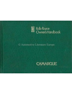 1979 ROLLS ROYCE CAMARQUE OWNERS MANUAL ENGLISH