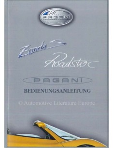 2003 PAGANI ZONDA S ROADSTER OWNER MANUAL GERMAN