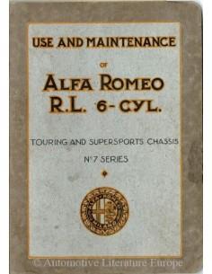 1928 ALFA ROMEO R.L. TOURING & SUPERSPORTS BETRIEBSANLEITUNG ENGLISCH