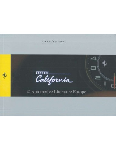 2009 FERRARI CALIFORNIA OWNERS MANUAL ENGLISH