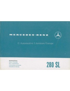 1970 MERCEDES BENZ 280 SL OWNERS MANUAL