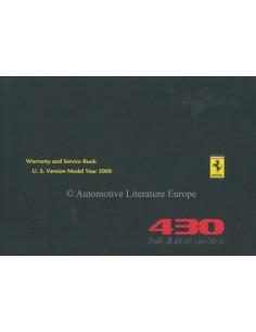 2008 FERRARI 430 SCUDERIA GARANTIEKARTE & WARTUNGSPLAN FRANZÖSISCH / ENGLISCH (U.S. AUSGABE)