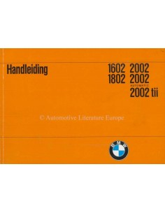 1972 BMW 1602 1802 2002 OWNERS MANUAL DUTCH