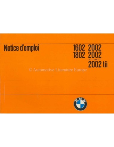 1974 BMW 1602 1802 2002 OWNERS MANUAL FRENCH