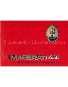 1988 MASERATI 430 MAINTENANCE & WARRANTY MANUAL ITALIAN ***BLANCO***