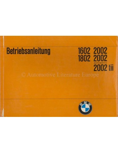 1971 BMW 1602 1802 2002 OWNER'S MANUAL GERMAN