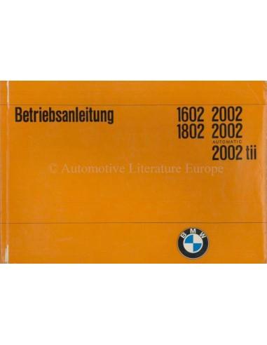 1971 BMW 1602 1802 2002 OWNER'S MANUAL GERMAN
