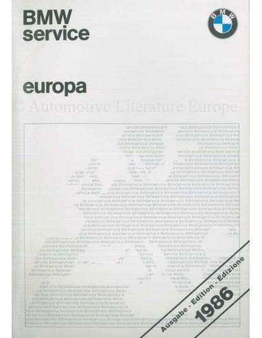 1986 BMW SERVICE STATIONS EUROPE HANDBOOK