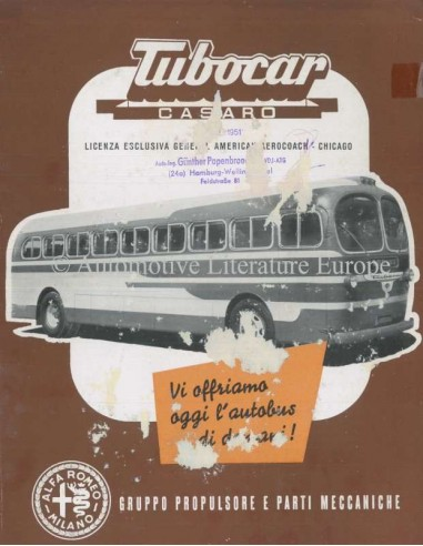 1951 ALFA ROMEO TUBOCAR CASARO BROCHURE ITALIAN