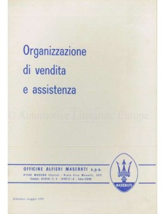 1972 MASERATI SALES & SERVICE ORIGANIZATION MANUAL ITALIAN