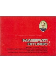 1987 MASERATI BITURBO I WERKPLAATSHANDBOEK SUPPLEMENT ITALIAANS ENGELS