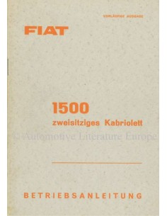 1959 FIAT 1500 CONVERTIBLE OWNERS MANUAL GERMAN