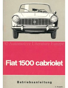 1965 FIAT 1500 CONVERTIBLE OWNERS MANUAL GERMAN