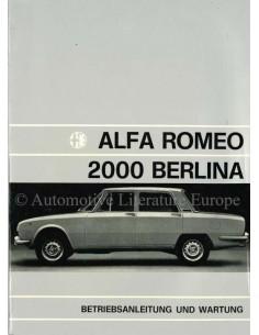 1972 ALFA ROMEO 2000 BERLINA BETRIEBSANLEITUNG DEUTSCH