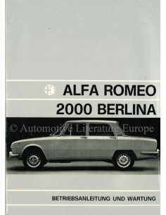 1972 ALFA ROMEO 2000 BERLINA OWNER'S MANUAL GERMAN