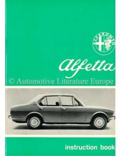 1972 ALFA ROMEO ALFETTA BETRIEBSANLEITUNG ENGLISCH
