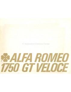 1969 ALFA ROMEO GT 1750 VELOCE BROCHURE DUITS