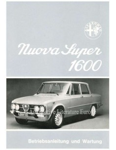 1974 ALFA ROMEO GIULIA NUOVA SUPER 1600 OWNERS MANUAL GERMAN