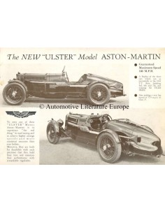 1934 ASTON MARTIN ULSTER LEAFLET ENGLISH