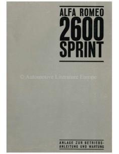 1966 ALFA ROMEO 2600 SPRINT  SUPPLEMENT OWNERS MANUAL GERMAN