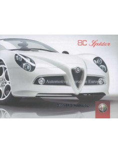 2009 ALFA ROMEO 8C SPIDER OWNERS MANUAL ENGLISH US