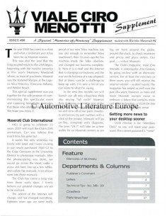 2000 MASERATI VIALE CIRO MENOTTI MAGAZINE SUPPLEMENT ENGLISH