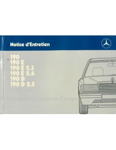 1987 MERCEDES BENZ 190 OWNER'S MANUAL HANDBOOK FRENCH