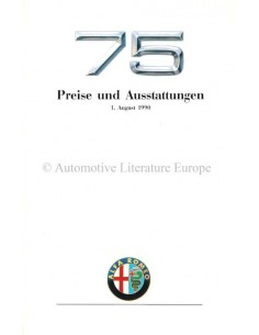 1990 ALFA ROMEO 75 PRICE LIST GERMAN