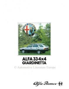 1984 ALFA ROMEO 33 4X4 GIARDINETTA BROCHURE FRENCH