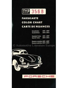 1959 PORSCHE 356 B KLEURENKAART BROCHURE
