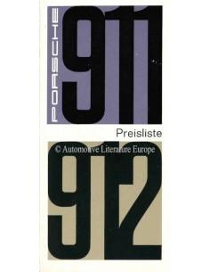 1966 PORSCHE 911 / 912 PREISLISTE DEUTSCH