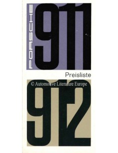 1966 PORSCHE 911 / 912 PRICE LIST GERMAN