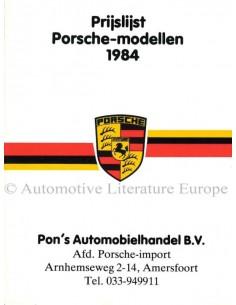 1984 PORSCHE PRICE LIST DUTCH