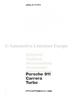 1975 PORSCHE 911 CARRERA TURBO ACCESSORIES BROCHURE