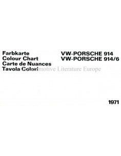 1971 VW-PORSCHE 914 & 914/6 COLOUR CHART BROCHURE