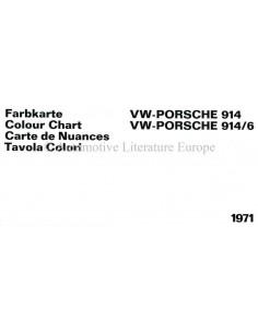 1971 VW-PORSCHE 914 & 914/6 FARBKARTE PROSPEKT