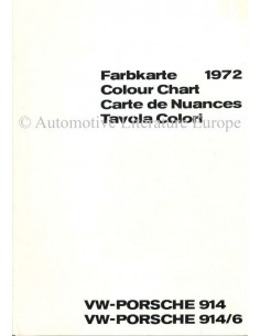 1972 VW-PORSCHE 914 & 914/6 COLOUR CHART BROCHURE
