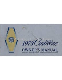 1973 CADILLAC OWNER'S MANUAL ENGLISH